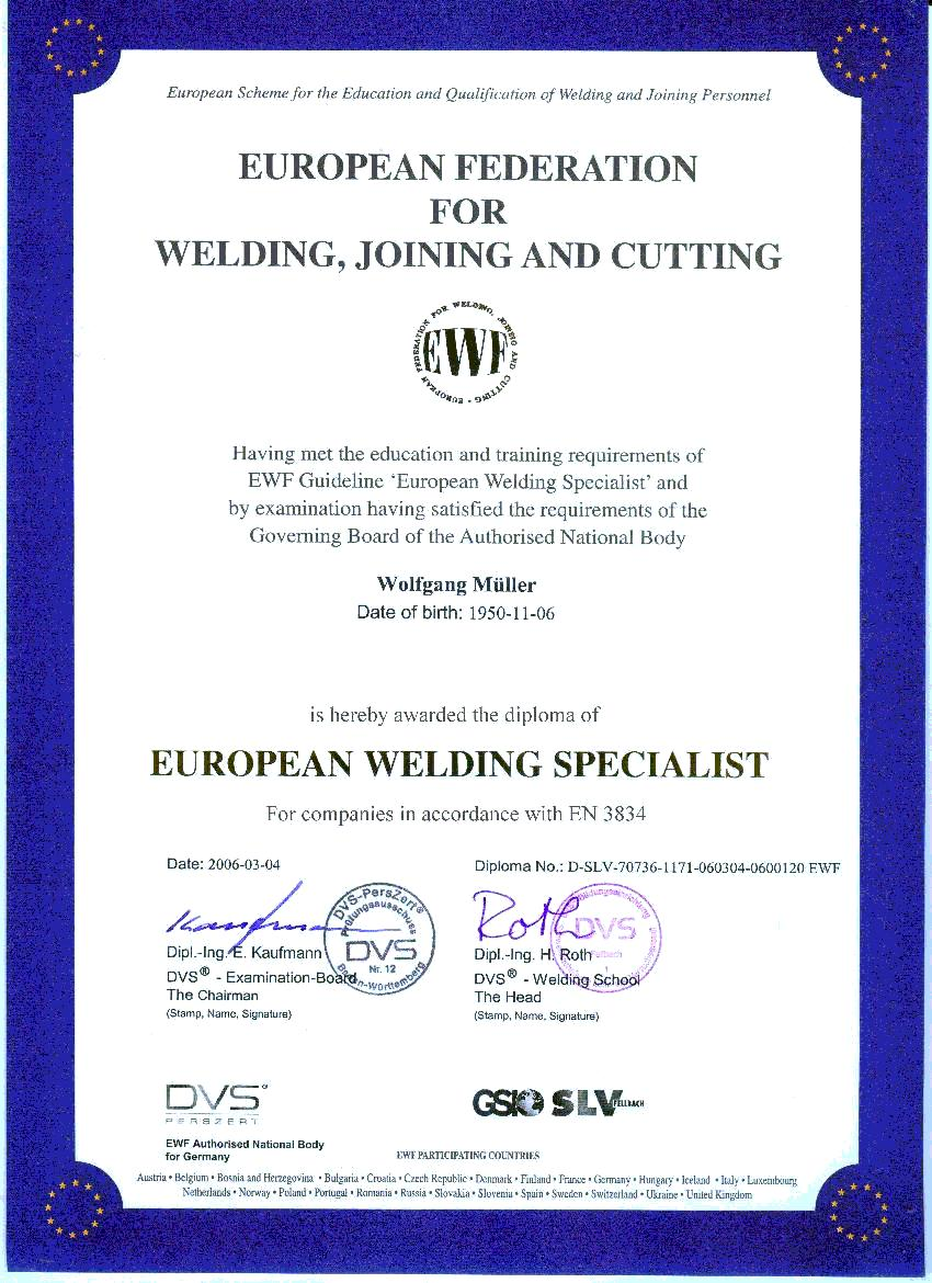 Quality control our welding specialist wolfgang mller was rewarded the dvs diploma and he checks our production of welded parts according to dvs guidelines deutscher yadclub Image collections